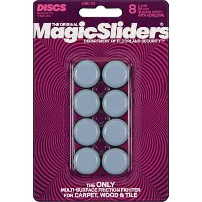 Magic Sliders 1 In. Round Adhesive Furniture Glide,(8-Pack)
