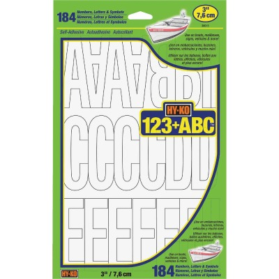 Hy-Ko 3 In. White Vinyl Letters, Numbers & Symbols (184 Count)