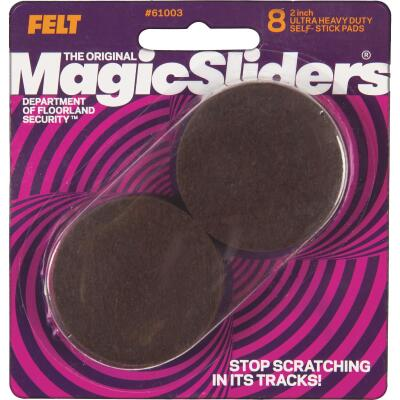Magic Sliders 2 In. Round Brown Self-Adhesive Ultra Heavy-Duty Felt Furniture Pad (8-Pack)