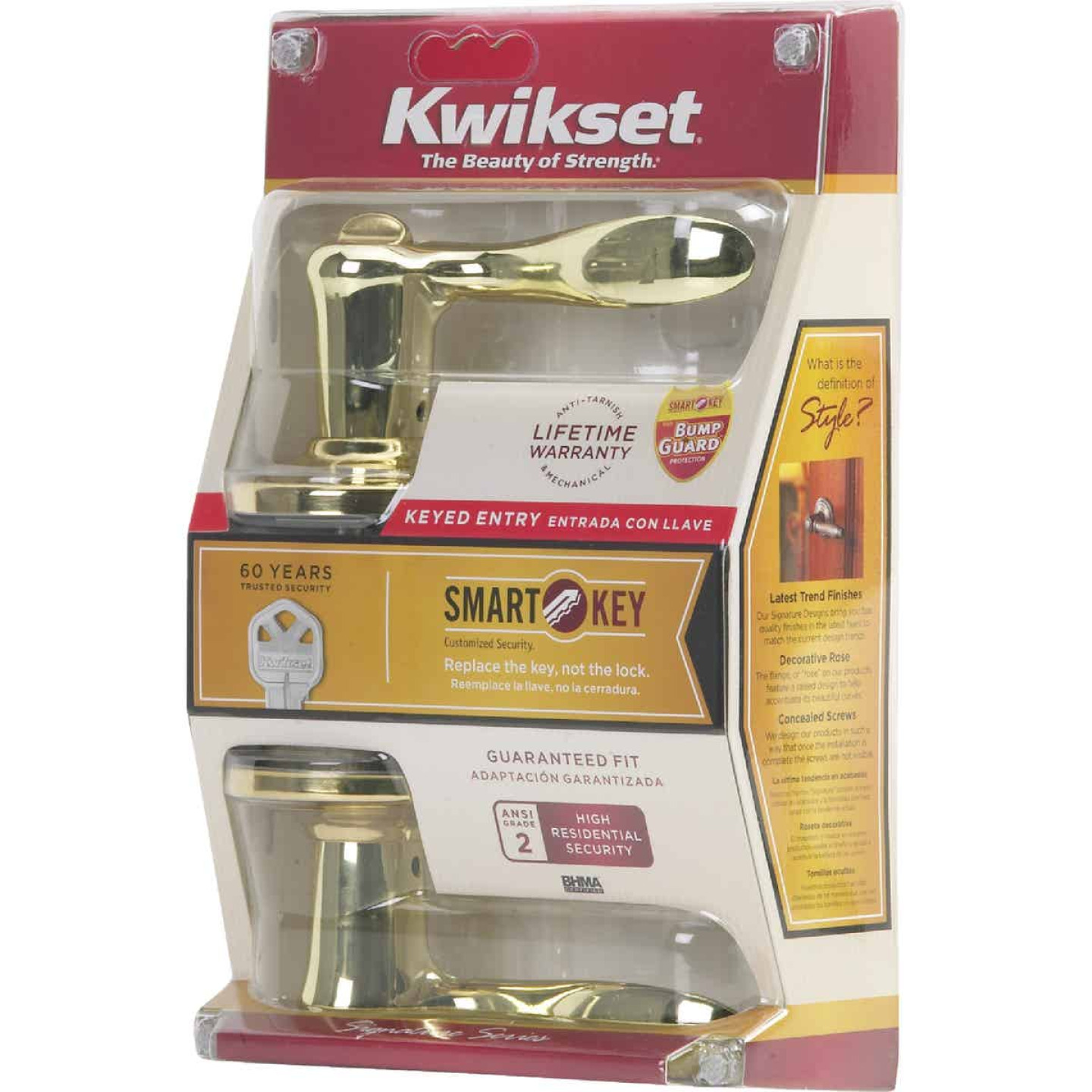 Kwikset Signature Series Polished Brass Tustin Entry Door Lever with Smartkey Image 4