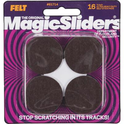 Magic Sliders 1-1/2 In. Round Brown Self-Adhesive Heavy-Duty Pad (16-Pack)