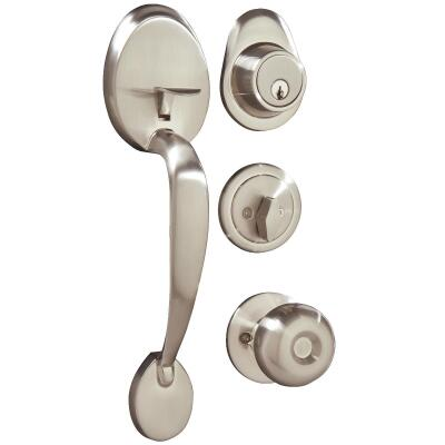 Steel Pro Brushed Nickel Entry Door Handleset