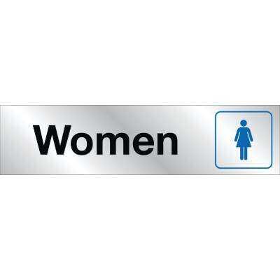 Hy-Ko Brushed Aluminum Restroom Sign, Ladies