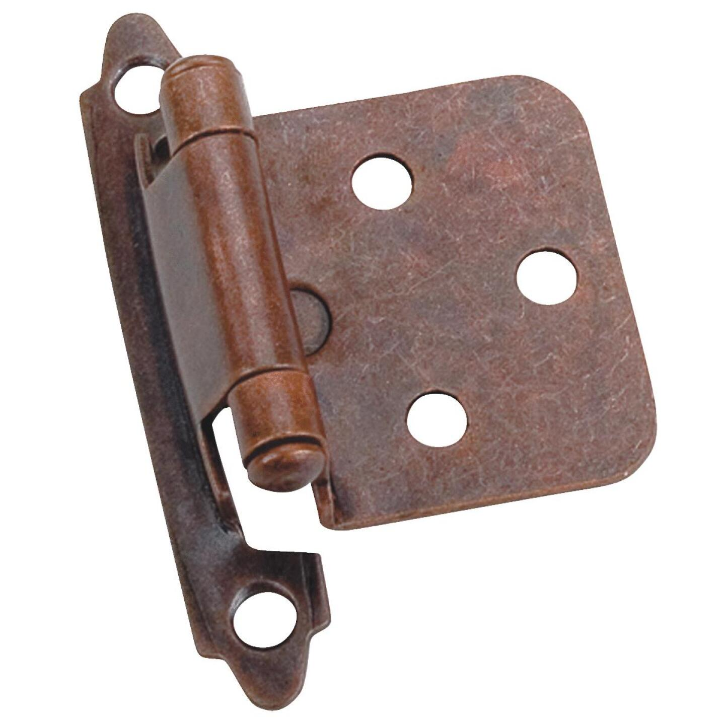 Laurey Venetian Bronze Self-Closing Overlay Hinge with Zinc Screws (2-Pack) Image 1