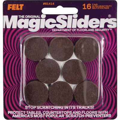 Magic Sliders 1 In. Round Brown Ultra Heavy Duty Self-Stick Pad (16 Pack)