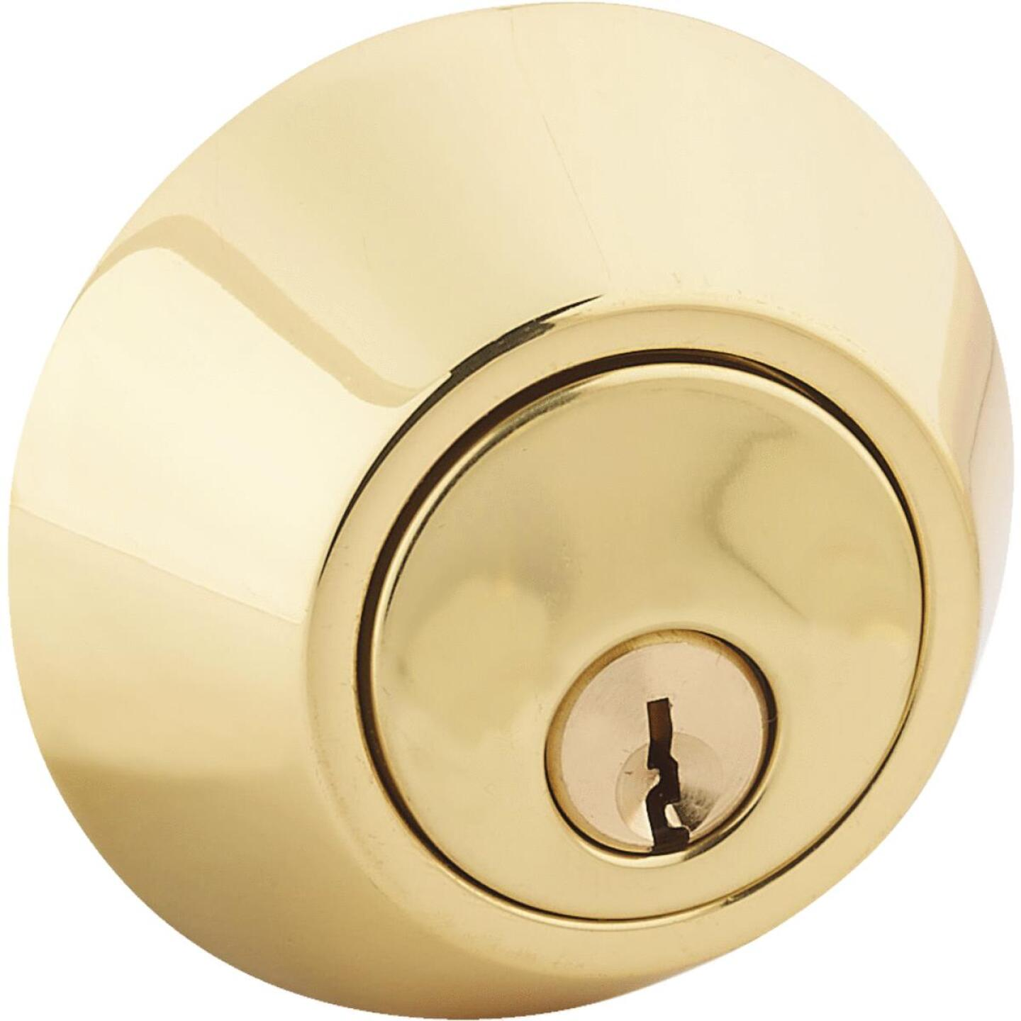 Steel Pro Polished Brass Kwikset Double Cylinder Deadbolt Image 1