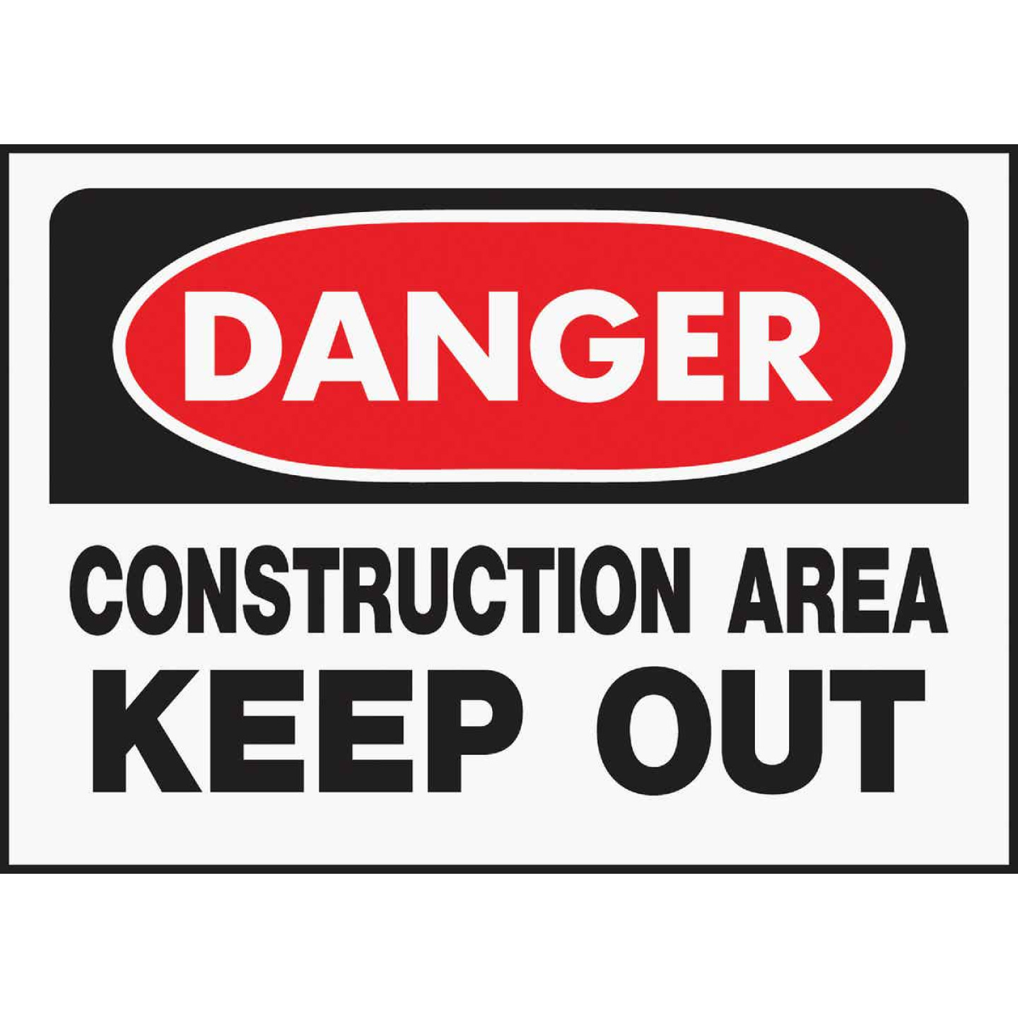 Hy-Ko Polyethylene Sign, Danger Contruction Area Keep Out Image 1
