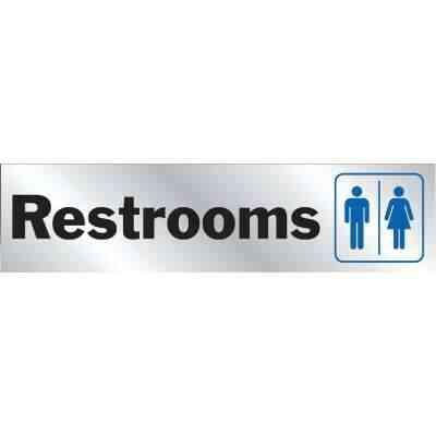 Hy-Ko Brushed Aluminum Sign, Restroom