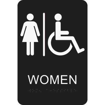 Hy-Ko Deco Series Plastic Braille Restroom Sign, Women Handicapped