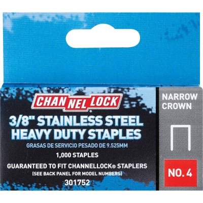 Channellock No. 4 Narrow Crown Stainless Steel Staple, 3/8 In. (1000-Pack)