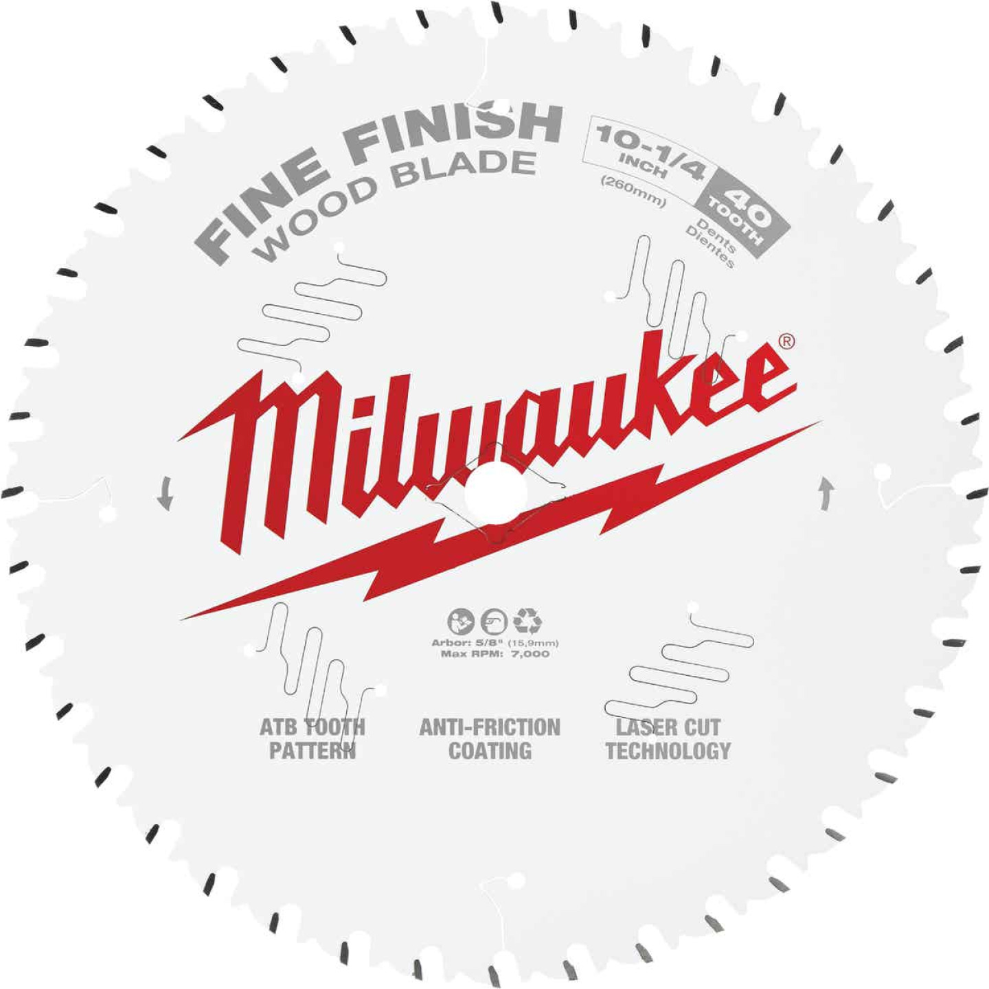 Milwaukee 10-1/4 In. 40-Tooth Fine Finish Circular Saw Blade Image 1