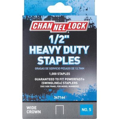 Channellock No. 5 Heavy-Duty Wide Crown Staple, 1/2 In. (1000-Pack)