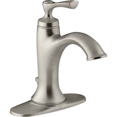 Kohler Elliston Brushed Nickel 1-Handle Lever 4 In. Centerset Bathroom Faucet with Pop-Up