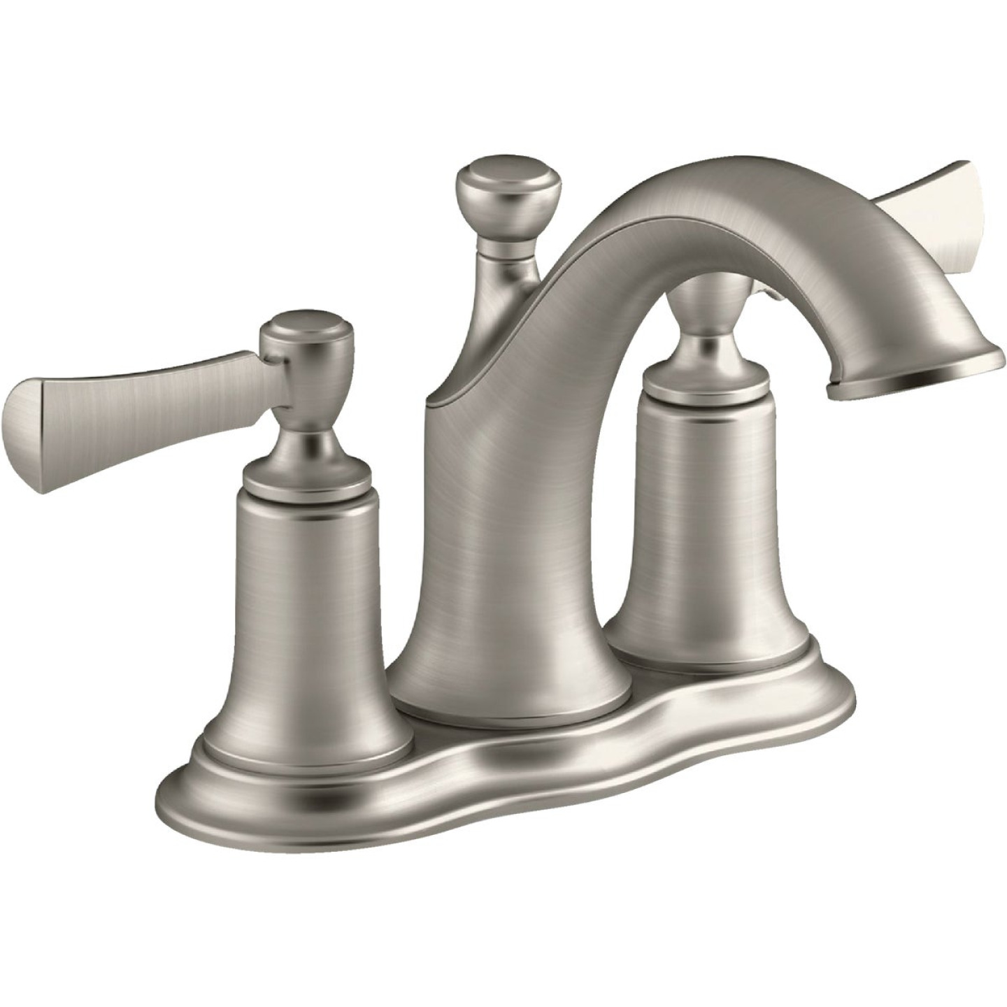 Kohler Elliston Brushed Nickel 2-Handle Lever 4 In. Centerset Bathroom Faucet with Pop-Up Image 1