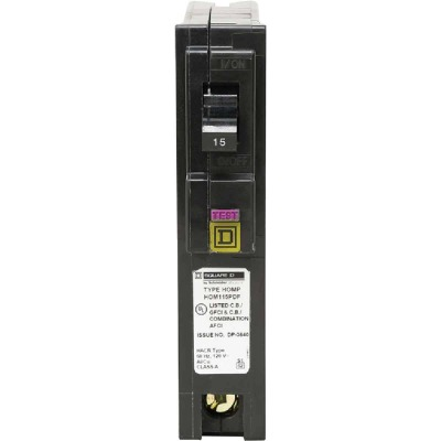 Square D Homeline 15A Single-Pole CAFCI Plug-On Neutral Dual Function Circuit Breaker