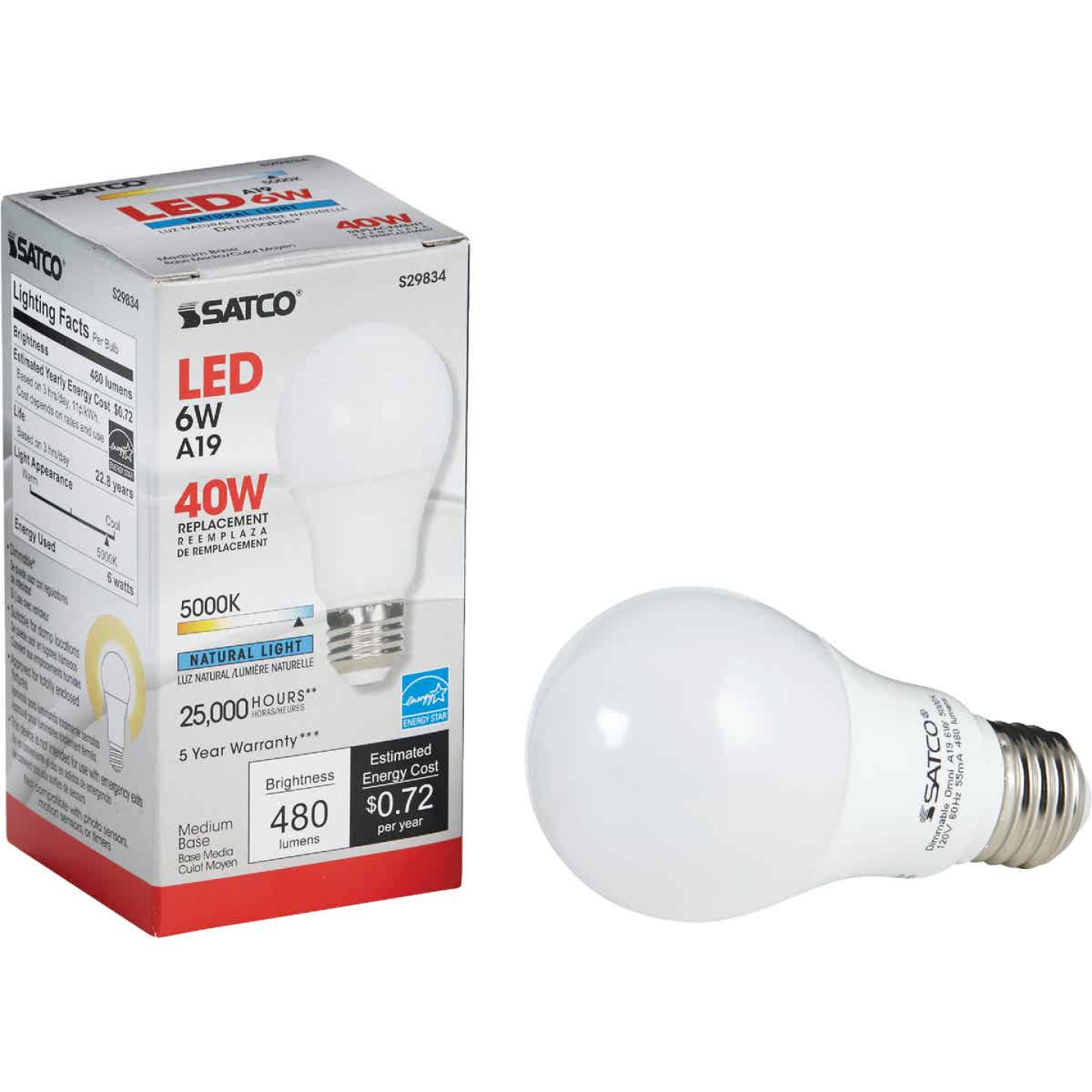 Satco 40W Equivalent Natural Light A19 Medium Dimmable LED Light Bulb Image 1