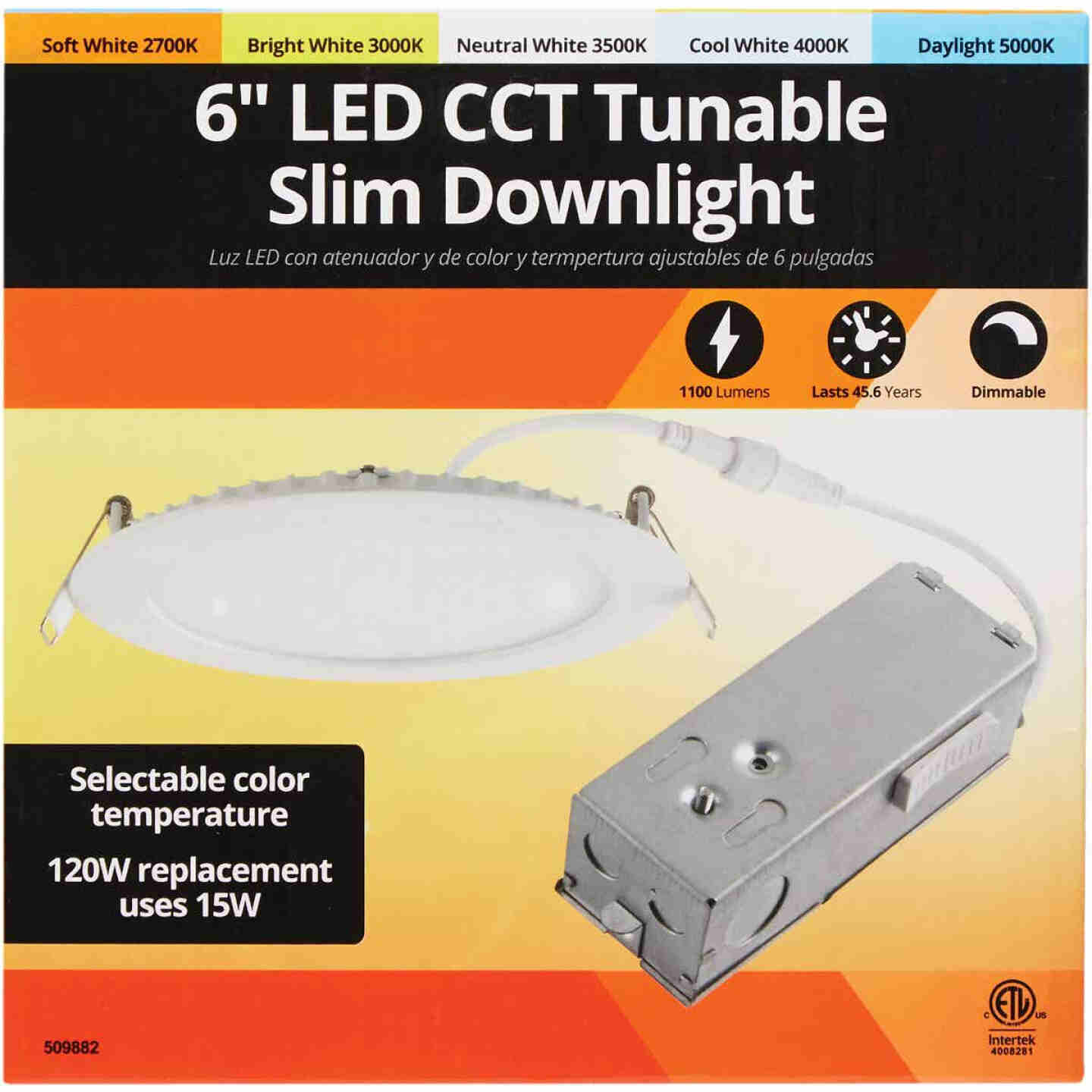 6 In. New Construction IC Rated White Tunable Slim LED CCT Downlight Image 2