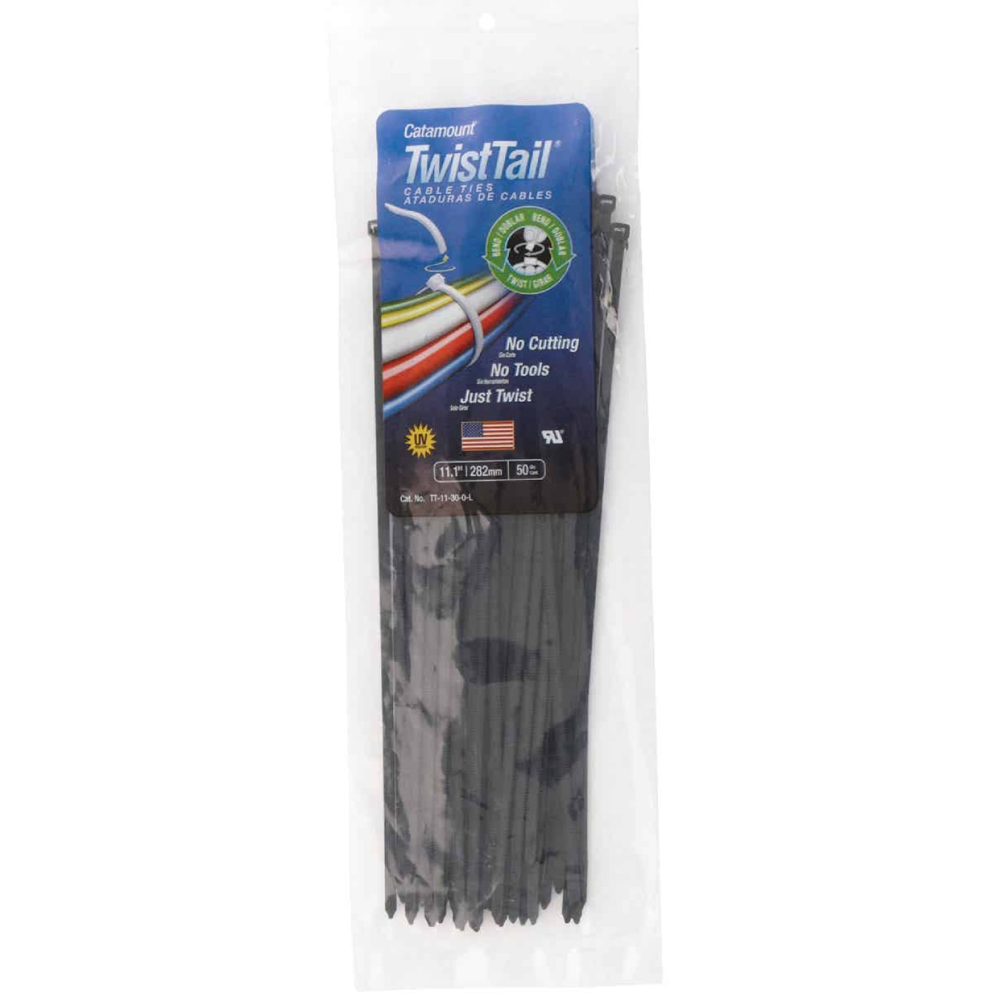 Catamount Twist Tail 11 In. x 0.187 In. Black Nylon Cable Tie (50-Pack) Image 2