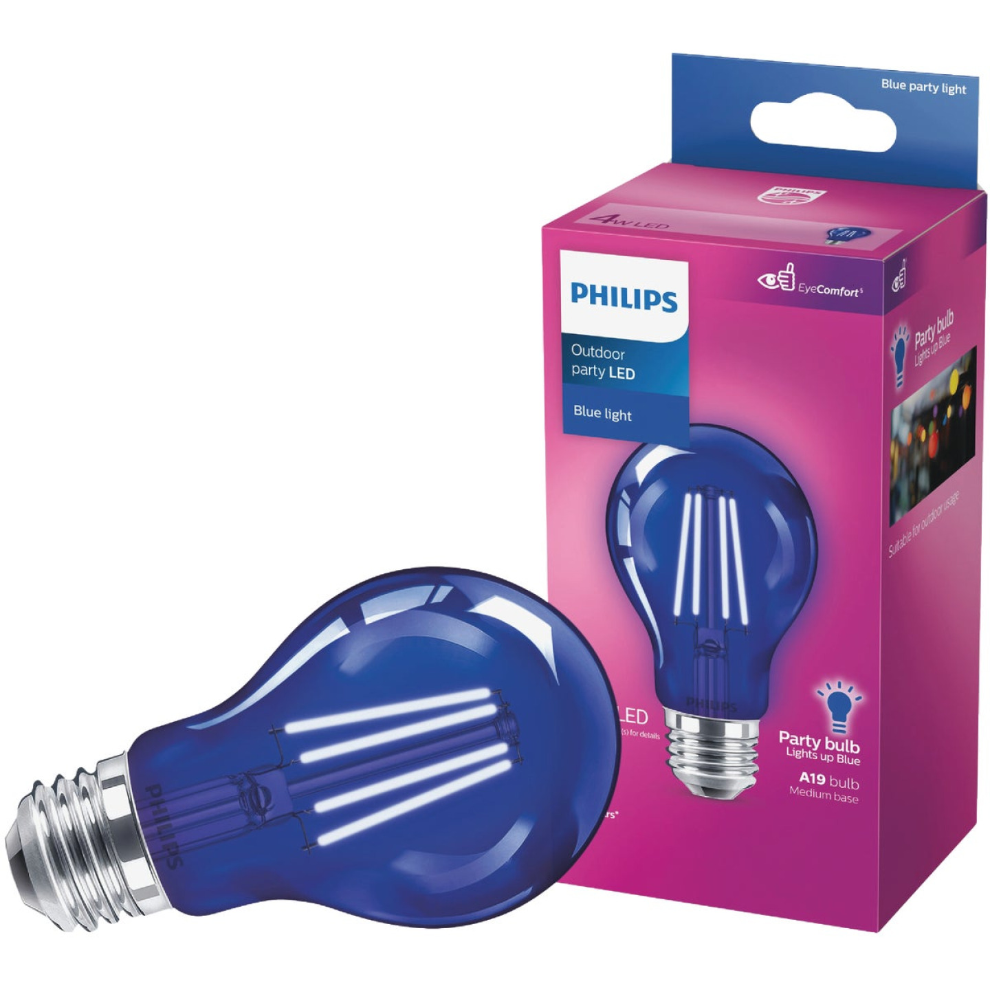 Philips Blue A19 Medium 4W Indoor/Outdoor LED Decorative Party Light Bulb Image 1