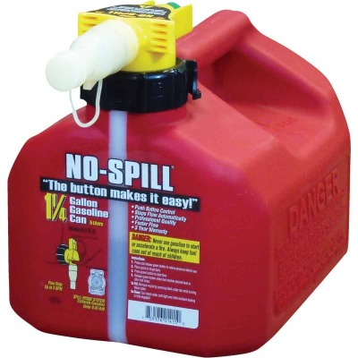 No-Spill 1-1/4 Gal. Plastic Gasoline Fuel Can, Red