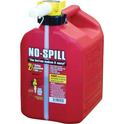 No-Spill 2-1/2 Gal. Plastic Gasoline Fuel Can, Red