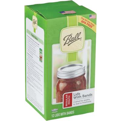 Ball Regular Mouth Canning Lid with Bands (10 Pack Tray)