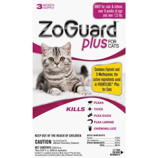 ZoGuard Plus 3-Month Supply Flea & Tick Treatment For Cats Over 1-1/2 Lb.