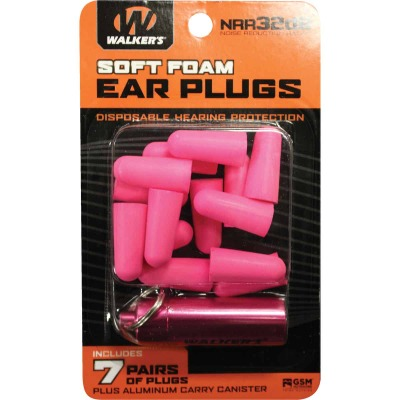 Walker's Soft Foam Neon Pink Ear Plugs (7-Pair)