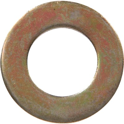 Hillman 1/4 In. SAE Hardened Steel Yellow Dichromate Flat Washer (100 Ct.)