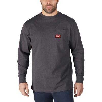 Milwaukee Large Gray Long Sleeve Men's Heavy-Duty Pocket Shirt