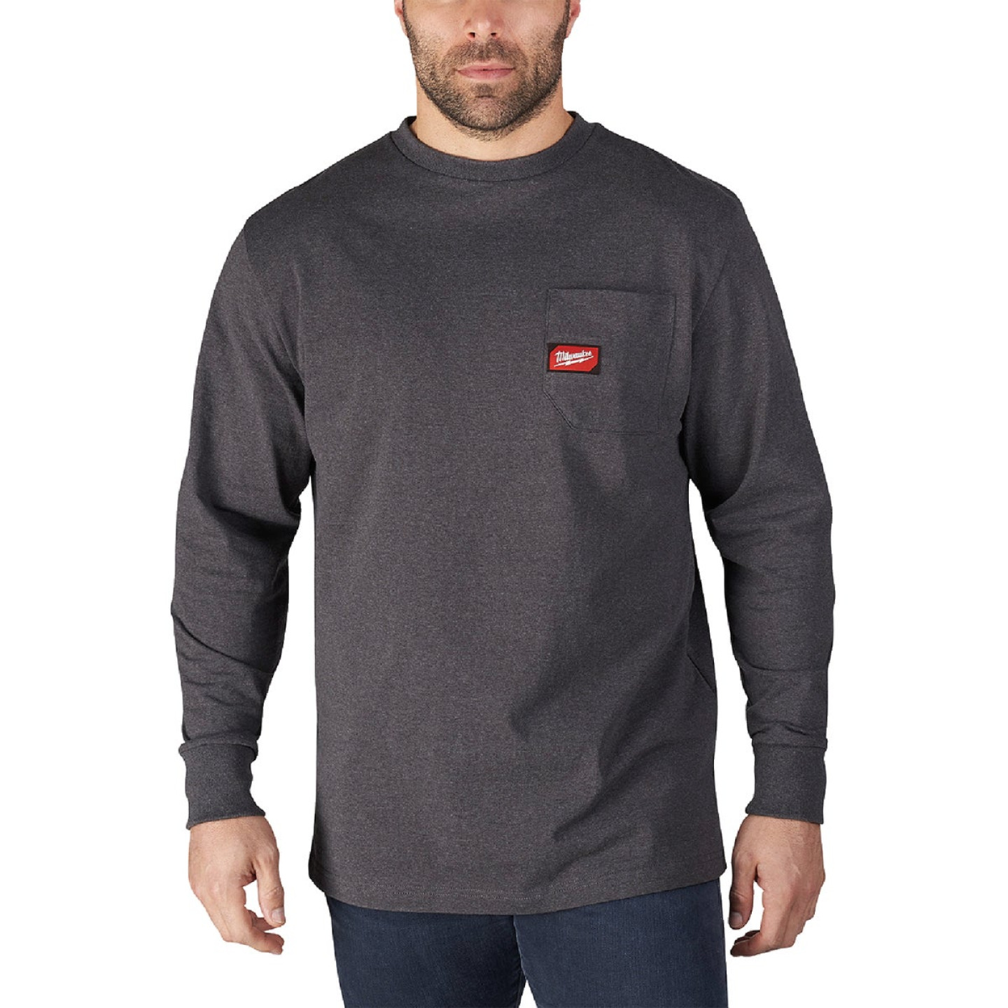 Milwaukee XL Gray Long Sleeve Men's Heavy-Duty Pocket Shirt Image 1
