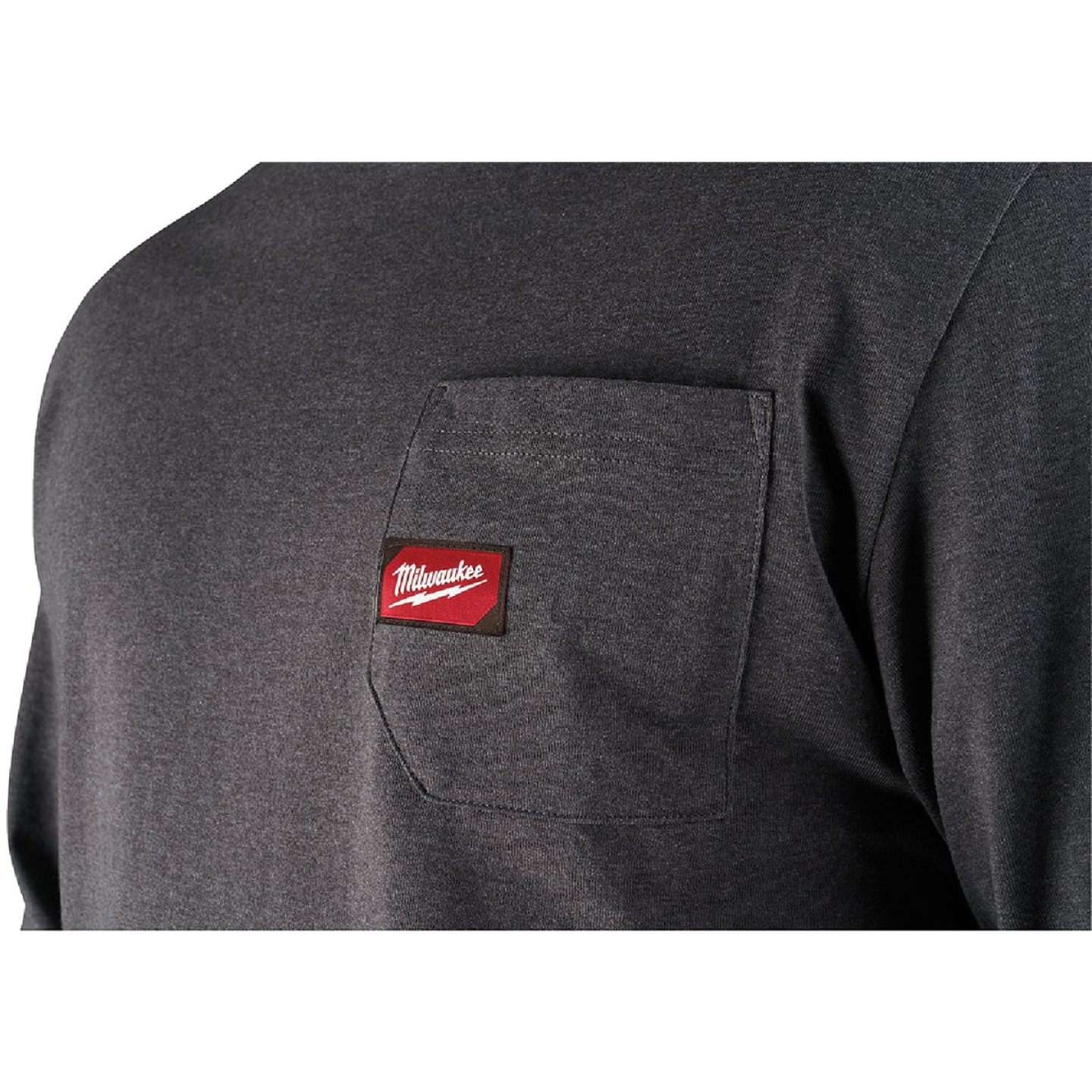 Milwaukee XL Gray Long Sleeve Men's Heavy-Duty Pocket Shirt Image 4