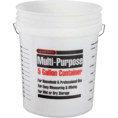 Leaktite 5 Gal. Clear Plastic Pail with Measuring Increments