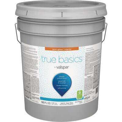 True Basics by Valspar Semi-Gloss Interior Paint, 5 Gal., Clear Base