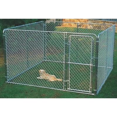 Fence Master Silver Series 10 Ft. W. x 6 Ft. H. x 10 Ft. L. Steel Outdoor Pet Kennel